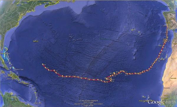 Mapa pokonanej przez A. Dobę trasy podczas II Transatlantyckiej Wyprawy Kajakowej, wg stanu na 05.01.2014 r. (opracowanie A. Armiński)