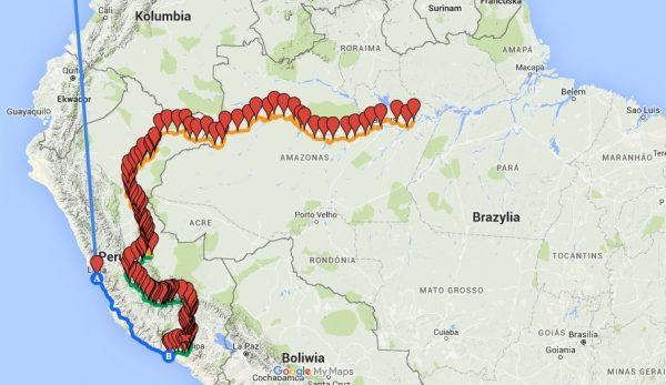 Mapa całej wyprawy wg nadajnika SPOT